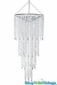 Chandelier Fifth Avenue 4 Tiers - Clear Non-Iridescent - 3 ft Long Wedding Chandelier