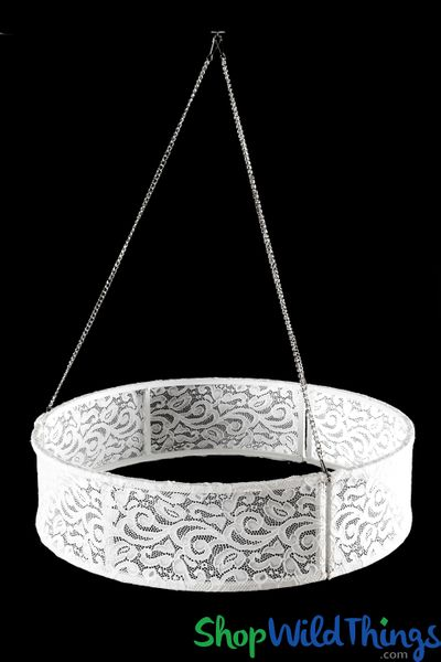 """Chandelier Frame """"Sahana"""" 23 1/2"""" Drum With White Lace"""
