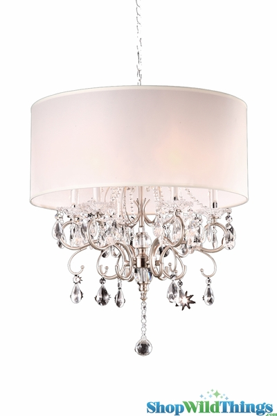 "Chandelier ""Frankfurt"" Silver & Crystal - 21"" x 22"" - 6 Lights!"