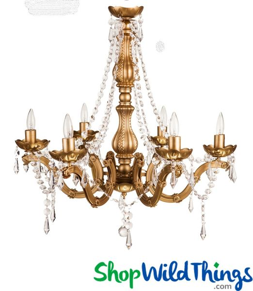 "Chandelier Gold Gypsy - Beaded Crystals - 15"" x 15"" - 6 Lights With Plug"