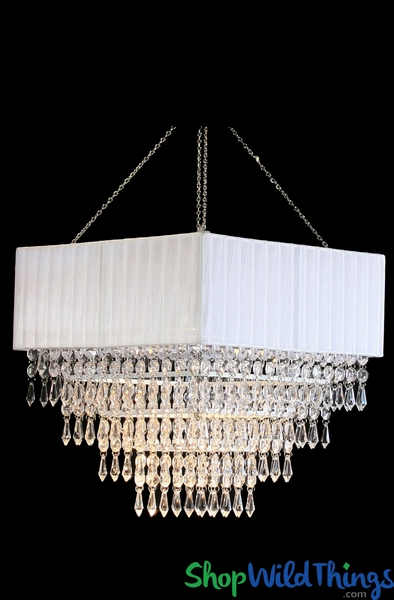 """COMING SOON! Chandelier """"Gracie"""" Fabric Square & Cascading Crystals"""