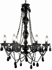 "Chandelier Gypsy Black - 26"" x 22"" - 6 Lights - Hardwire - Collapsible"