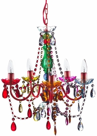 "Chandelier Gypsy Multicolor - 21"" x 19"" - 5 Lights - Hardwire - Collapsible"