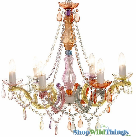 "Chandelier Gypsy Pastels - 26"" x 22"" - 6 Lights - With Plug"