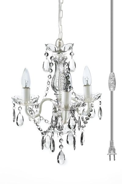 "Chandelier Gypsy White & Clear - 16"" x 13"" - 3 Lights - With Plug - Collapsible"