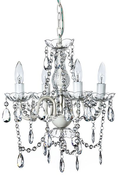 "Chandelier Gypsy White & Clear - 18"" x 15"" - 4 Lights - Hardwire - Collapsible"