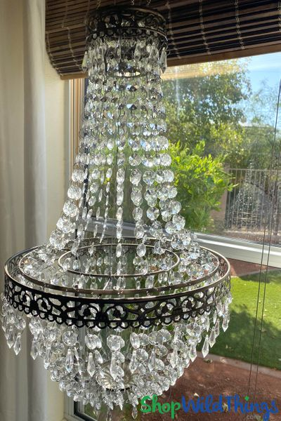 """Chandelier """"Kitty"""" � Large Beads & Ornate Metal Trimming � 26"""" x 14"""""""