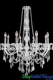 "Chandelier ""Princess Beatrice"" K9 Crystal & Chrome 27"" x 34"" - 8 Lights!"