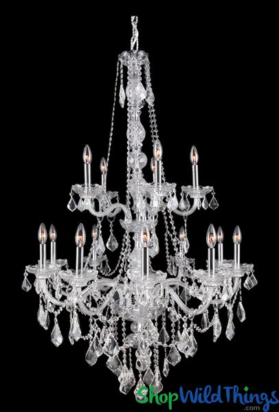 "COMING SOON! Chandelier ""Queen Fiona"" K9 Crystal & Chrome - 2 Tiers - 33"" x 52"" - 12 Lights!"