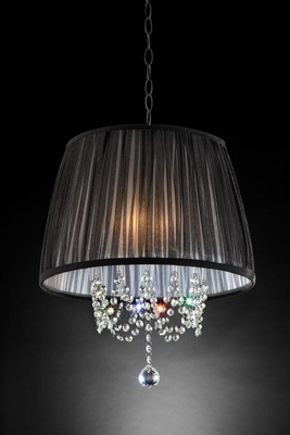 Crystal Chandelier With Black And White Satin Ribbons