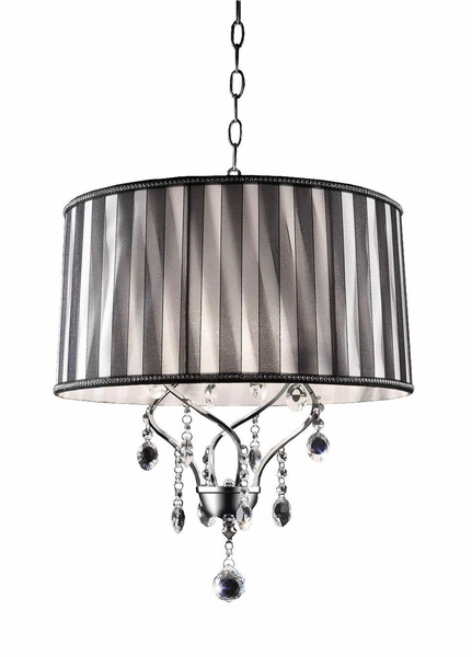 "Chandelier ""Marceau"" Real Crystals -  Black & Silver Shade -  17"" x 18"" - 1 Light - Hardwire"