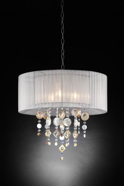 "COMING SOON! Chandelier Real Crystals ""Moondance"" - 2 Layer Drum Shades -  21"" Wide"