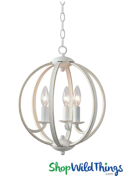 Kenroy Home Chandelier, Round White Metal w/Gold Trim