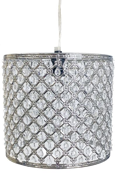 "COMING SOON! Chandelier Silver Drum with Crystal Beads & Light Kit 9"" x 9.5"""