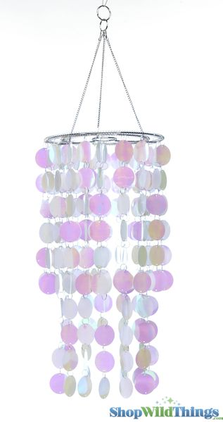 "COMING SOON! Chandelier, Spangles - White Iridescent - 8"" x 18"""