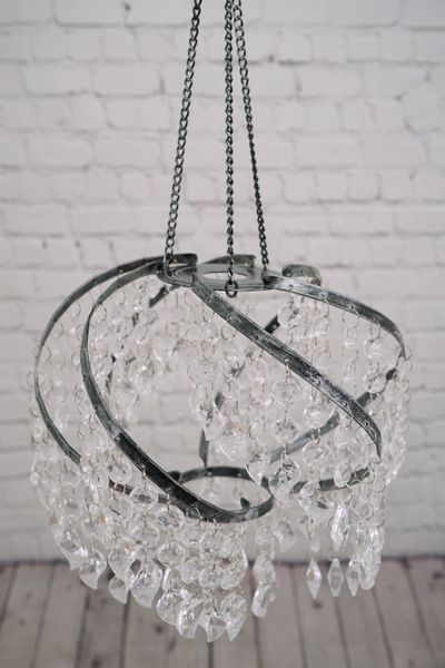 """Chandelier  """"The Whirl""""  Crystal - 9"""" x 9"""" With Light Kit"""