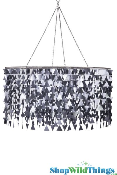 "Chandelier HUGE ""Trilogy"" 3 Feet - Metallic Pearlized Gray (see video!)"