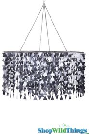 Metallic Charcoal Silver Triangles Beaded Curtain Mod