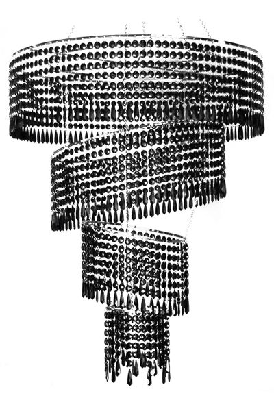 """COMING SOON! Chandelier """"Whimsy"""" 4-Tier Black Beaded 4.5'"""