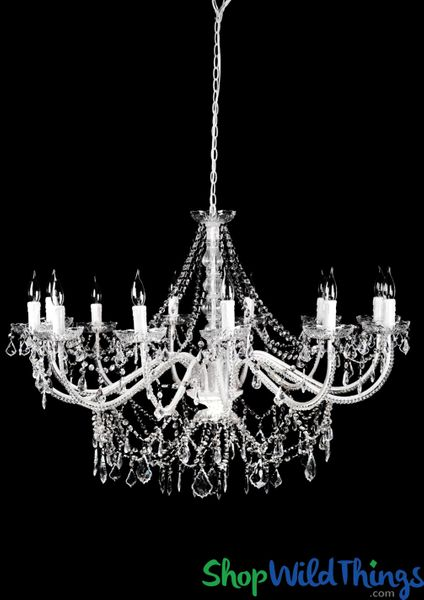 "Chandelier ""Venezia"" White & Crystal - 40"" x 28"" - 12 Lights! Extra Large!"