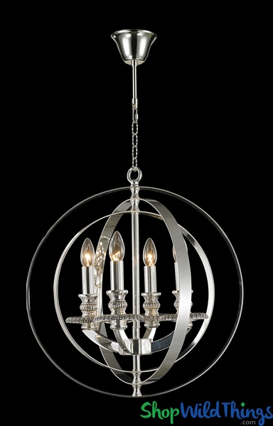 "Chandelier ""Xenia"" Swivel Chrome Circles 20"" x 22"" - 4 Lights!"