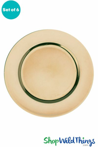 "Charger Plate - Brushed Gold Plain Trim 13"" Set of 6 (as low as $1.63 each)"