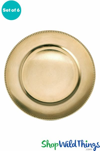 "Charger Plate - Brushed Gold w/Beaded Trim 13"" Set of 6 ( as low as $1.63 each)"