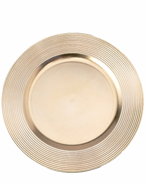 "Charger Plate - Imperfect - Brushed Gold w/Ridged Trim 13"" Set of 6"