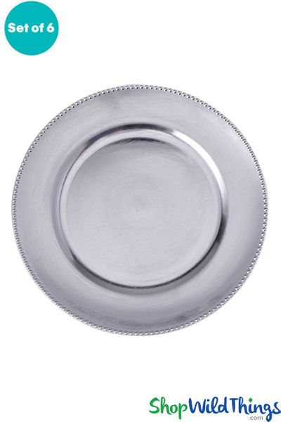 "Charger Plate - Brushed Silver w/Beaded Trim 13"" Set of 6 (as low as $1.63 each)"