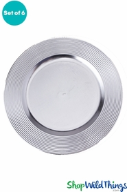 "Charger Plate - Brushed Silver w/Ridged Trim 13"" Set of 6 (as low as $1.63 each)"