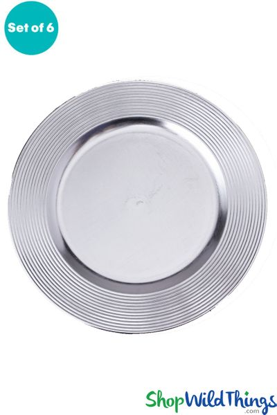"Charger Plate - Brushed Silver w/Ridged Trim 13"" Set of 6"