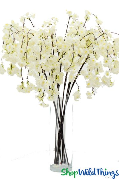 "Artificial Silk Cherry Blossom Branch - 53"" Long - Bendable - Ivory"