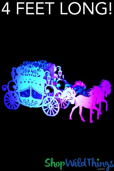 Cinderella Carriage & Horses Prop - White - Almost 4 Feet Long - Stores Flat