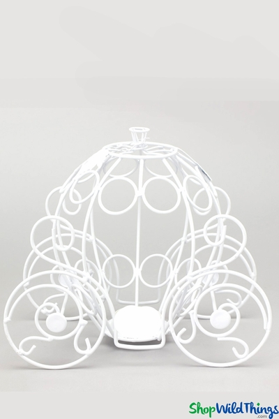 "Cinderella Princess Carriage 10 1/2"" x 6"" x 9 1/2"" - White Wire Centerpiece - BUY MORE, SAVE MORE!"