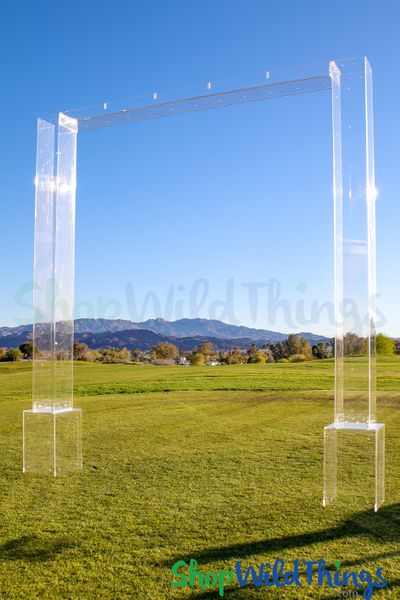 Clear Transparent Acrylic Modern Wedding Arch 9.5' Tall x 9.25' Wide (2 LEGS + 2 BASES + 1 TOP)
