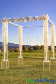 Clear Transparent Acrylic Modern Wedding Gazebo OR Backdrop! 9.5' Tall x 9.25 Footprint (4 Legs + 4 Bases + 4 Tops)