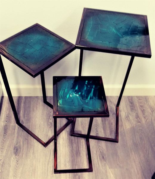 CLEARANCE! 3 Piece Mosaic Turquoise Nesting Tables