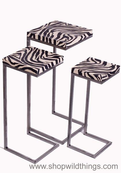 CLEARANCE! 3 Piece Zebra Print Nesting Tables