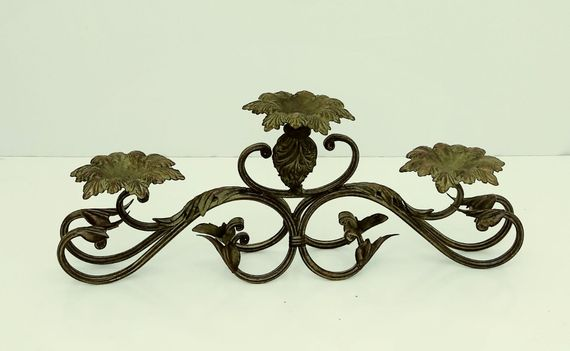CLEARANCE! Brown & Green Metal Candelabra, Rustic Floral