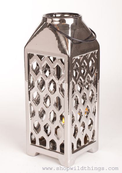 "CLEARANCE! Ceramic Candle Lantern - 8 1/2""- Silver Metallic"
