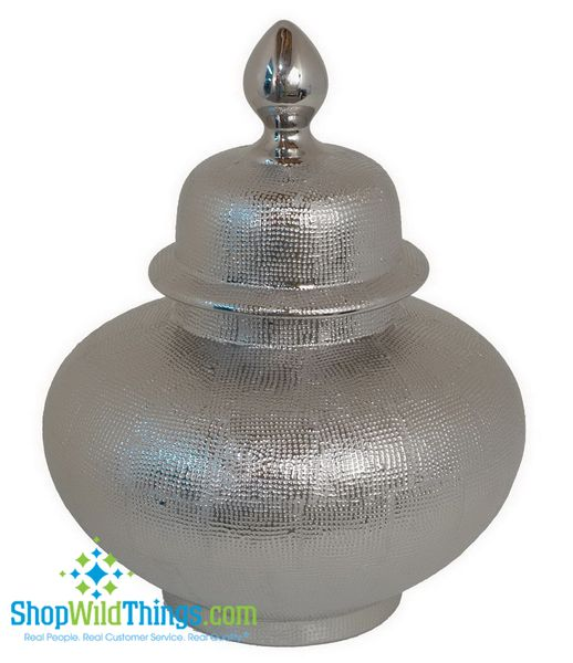"""CLEARANCE  Ceramic Covered Silver Urn 15.5"""", Tabletop Decor"""