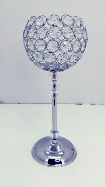 "CLEARANCE! Crystal Beaded ""Rosie"" Candle Holder Goblet - 16""H x 6 3/4""W"