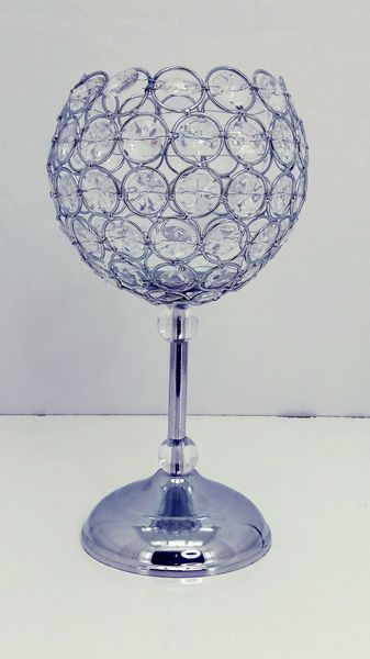 """CLEARANCE! Crystal Beaded """"Scarlett"""" Candle Holder Goblet - 12 1/2""""H x 6 3/4""""W"""