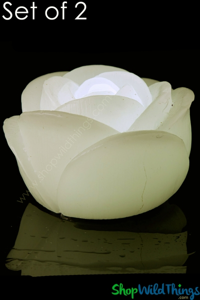 """LED Floating Rose Flickering Wax Candles, 2 3/4"""" Wide, IVORY - 2 Per Set"""