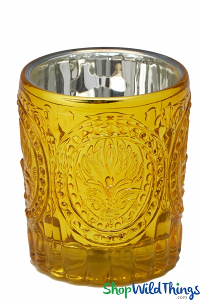 """Mercury Etched Glass Votive Set of 12 - Yellow Gold - 3 1/8"""""""
