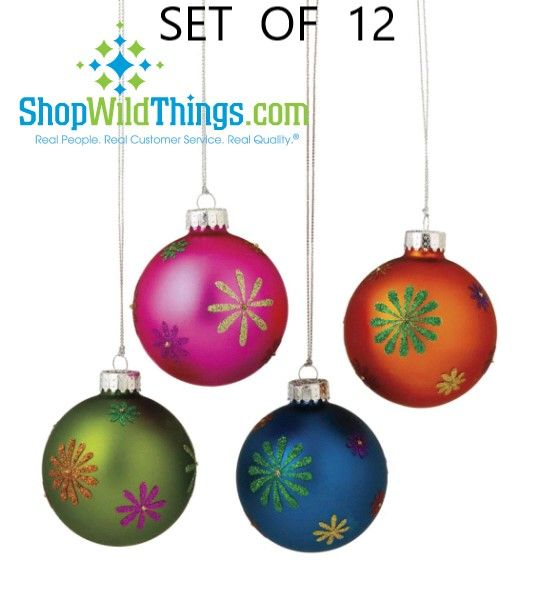 SALE! 12 Ornaments - Real Glass Multi Colored Flower Balls, 3 Boxes