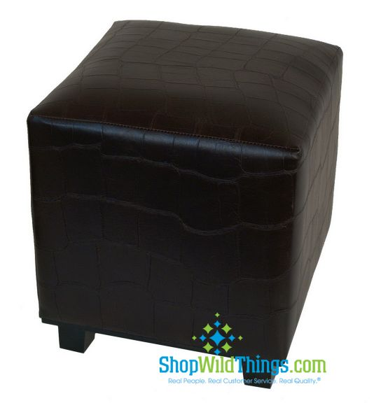 "CLEARANCE-Ottoman Brown  ""Leather""  Cube - Alligator Skin Pattern 14.5  x17"