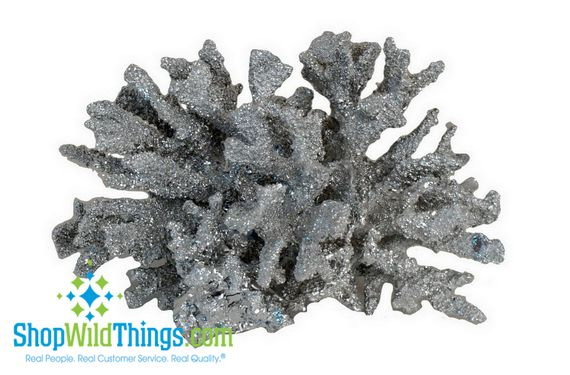 CLEARANCE  Silver Coral Decor - Resin 6""