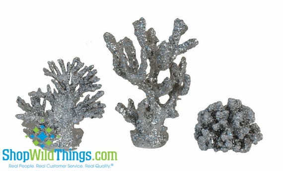 CLEARANCE  Silver Coral Decor - Set of 3