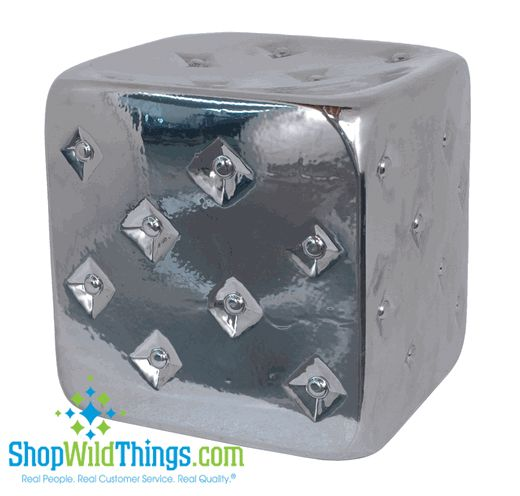 CLEARANCE! Silver Ceramic Tufted Garden Stool